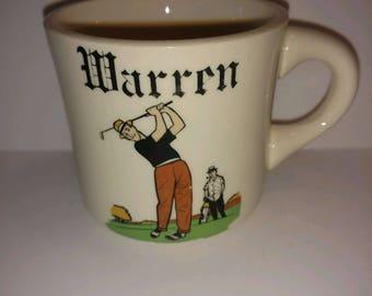 Vintage Coffee Mug Gold Themed for Warren