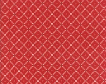 Farmhouse Reds - Floral Lattice Red Ivory by Minick & Simpson for Moda, 1/2 yard, 14857 11