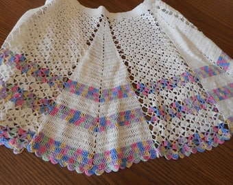 Vintage Hand Crochet Apron in White and Pastels