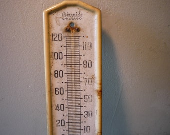 Antique Outdoor Thermometer - Farmhouse - Painted Metal - Farm decor prop - chippy paint - Chicago Airguide - missing guage - Thermostat