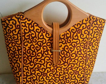 Large African Print Handbag