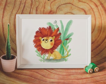 Animal illustrations for kids (lion)