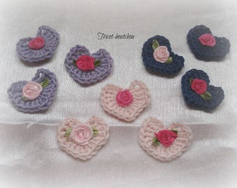 Pink with little crochet hearts