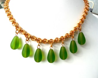 Chain Maille Necklace with 7 Olive Green Teardrops and earrings to match.