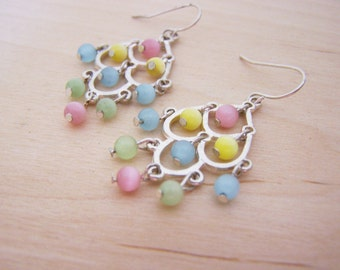 Vintage Silver Tone Pastel Beaded Chandelier Dangle Earrings / Gift for Her / H250