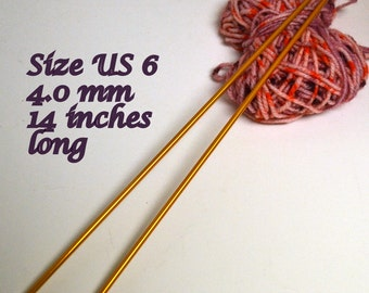 Knitting Needles Size 6 Aluminum 14 inches Long 4.0 mm