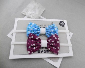 Baby Blue and Wine Bow Headband Set, newborn headband, girl headband, baby headband, bow headband, baby bows, photography props, baby gifts.