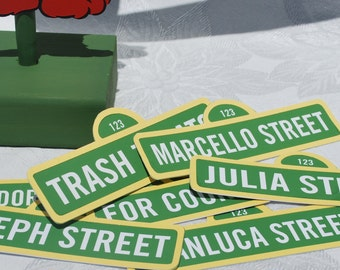 """Sesame Street Sign Labels for Food or Favors . Personalized . 2"""" x 5"""" . Pre Cut . No printing or cutting . Sesame Street Treat Bags"""