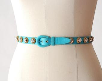 vintage Saks Fifth Avenue turquoise rhinestone studded belt