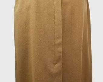 Vintage Wool Mid Calf Skirt in Brown Modern Sz S Vintage Sz 10 High Waisted Lined