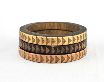 Brittany H. Skinny Bangle Set/ Wood Bracelet Trio/ Stacking Bangles/ Painted Triangle Design/ Neutral/ Gold/ xs-xl