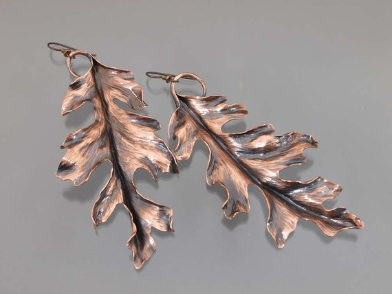 Extra Large Copper Oak Leaf Earrings, 4 inches long, made to order