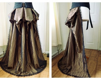 Bustle Train Victorian Steampunk Gothic Lolita Burlesque Overskirt Lace - Olive Gold, Antique Gold