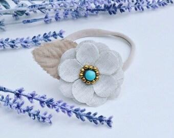 Brown flower headband, baby headband, newborn headband, infant headband, adult feather headband