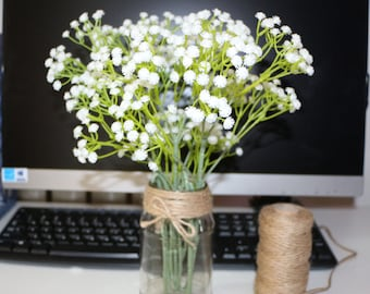 10 pcs white baby's breath bouquet for bridal bouquet babies breath wedding center pieces home decor