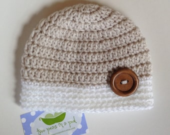 Baby Hat - Crocheted Baby Hat - Photo Prop - Knit Hat - Newborn Hat - Oatmeal/White Hat - Knit Baby Hat