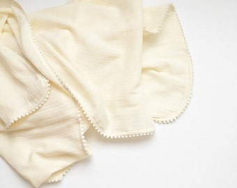 NomiLu Ivory Mulsin Pom Blanket -- Cotton Muslin Gauze Swaddle Blanket -- Swaddle Blanket