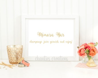 Mimosa Bar Gold Tabletop Sign. Bridal Shower Mimosa Table Sign Printable. Wedding Mimosa Sign Printable.