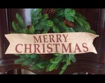 Primitive Merry Christmas Wired Jute Burlap Ribbon Banner Ornament Garland