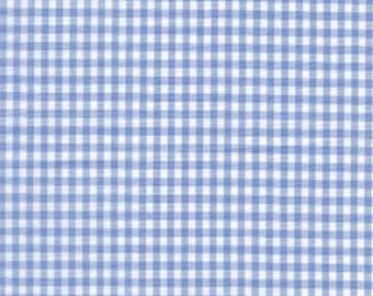 Homespun Cotton Fabric - Gingham White and Blue 1/8 inch check