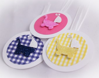 Glitter Single  Baby Carriage Gift Tag  (Set of 5)