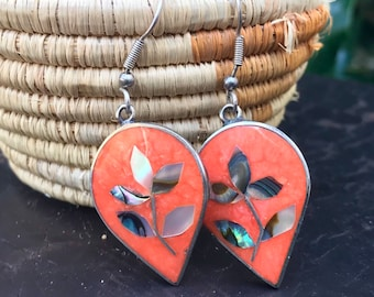 Coral and Mother of Pearl Earrings Marked Mexico Alpaca