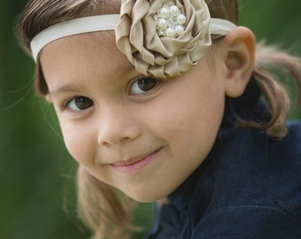 Taupe Satin Rosette Pearl Rhinestone Headband - Newborn Infant Baby Toddler Girls Adult Wedding Flower Girl