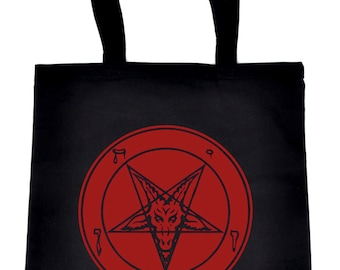 Solid Red Classic Inverted Pentagram Baphomet Goat Head Tote Bag Handbag Shopper - DYS-TB-010-RED