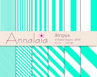 Digital Paper Pack: Aquamarine Blue White Vertical Diagonal Stripes 12x12 8,5x11 Instant Download  Digital Printable Scrapbook Paper 319