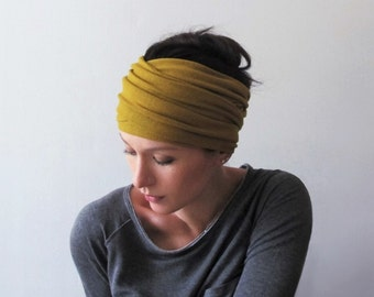 OCHRE Head Scarf, Dijon Mustard Yellow Headband, Knit Ear Warmer, Turban Headbands for Women, Camel Brown Headband, Boho Head Wrap