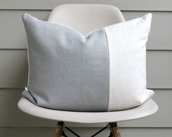 "16"" x 20"" Dusty Blue & White Pillow Cover - Lumbar Pillow - COVER ONLY"
