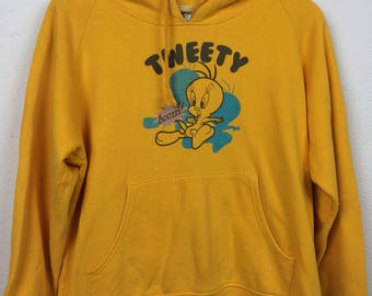 Vintage 90s Looney Tunes Tweety Hooded Sweater Size L