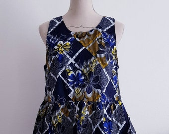 Kitenge blue yellow dashiki peplum ruffle crop top wax