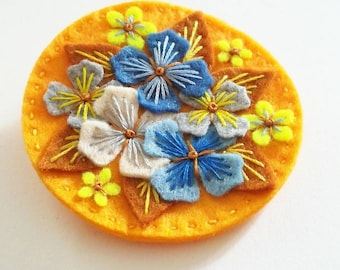 Hydrangea felt brooch statement pin - hand embroidery - scandinavian style - unique - limited edition - gold blue flowers nature