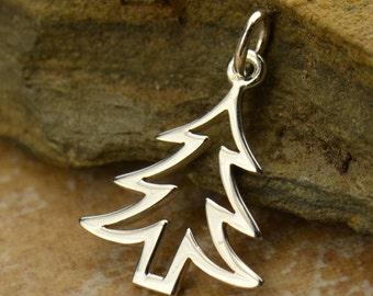 Sterling Silver, Christmas Tree, Cutout Tree Charm, Tree Charm, Silver Tree Charm, Silver Cutout Tree, Christmas Charm, Christmas Jewelry