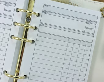 Personal Job Tracker printed planner insert - work flow - project manager - job objective - completed jobs - Personal Wide