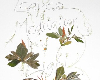 Leaves of Light and Meditation--print of real leaves and calligraphy