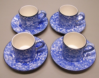 4 Vintage Stangl Town and Country blue and white cups and saucers - mugs