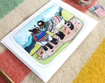 Goat Card - Funny Card - Blank Greeting Card - Baby Goats Card - Goats and Sweaters - Note Card - Urban Goats - Baby Goats Wearing Sweaters