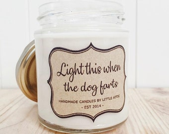 Funny Candle, Dog Lover Gift, Dog Candle, Pet Odor Eliminator, Animal Lover Gift, Pet Candle, Funny Gift, Dog Farts, Scented Candle, Candles