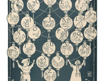 Learning Lanterns - Wonderful Vintage  Alphabet Print - 11 x 14 inch