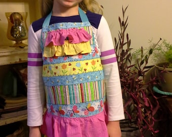 Pink, Blue and Yellow Girls Apron with Chef Hat, Butterfly Apron, Cute Bugs Child Apron, Girls Birthday Gift, Summery Apron