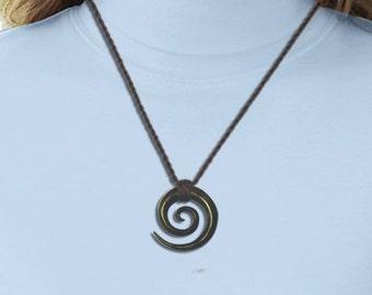 Double Spiral Necklace - Wood Pendant - P02