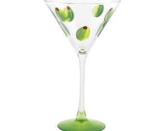 Hand Painted Olive Martini Glass