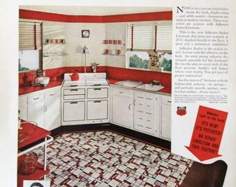 1937 sealex adhesive linoleum retro 1930s red white kitchen decor ge triple thrift refrigerator