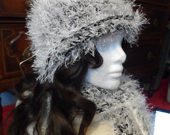 Fuzzy Black and White Winter Crochet Beanie Hat and Scarf Set