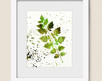 Watercolor Wall Art, Paint Spattered Nature Art Print, Green and Brown Bedroom Wall Decor, Dining Room Wall Art Print (469)