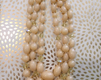 PALE ORANGE OVAL and Plastic Jewel Three Strand 1980s Necklace