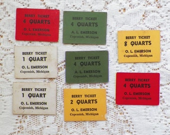 Vintage Thick Paper Berry Tickets / Markers, Berry Picking Ticket / Marker, Summer / Summertime for Upcycling / Repurposing / Scrapbooking