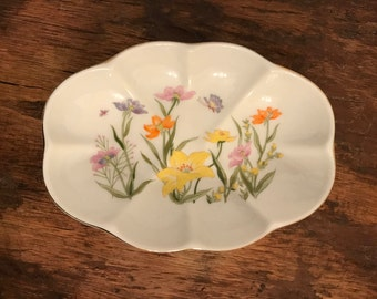 Vintage White Scalloped Soap Dish or Ring Dish with Lilies and Butterflies Pattern